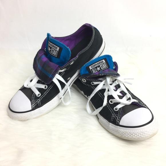 55388f5f2828 Converse Other - Converse Girls Juniors Sz 5 Black Plaid Sneakers